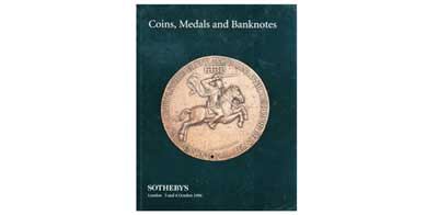 Лот №397,  1989 года. Sotheby's, London. Sale LN6594. Coins, Medals and Banknotes including the collection of Renaissance and later Medals formed by Cyril Humphris and Russian Coins from the Fuchs Collection (Part II: Paul I to present day).. 3-4 October 1996 in Lo