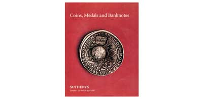 Лот №398,  1989 года. Sotheby's, London. Sale LN7263. Coins, Medals and Banknotes including Russian Coins from the Fuchs Collection (Part III) and the John J. Slocum Collection of Umayyad Coins.. 24-25 April 1997 in London. 101 стр.,  31 таблиц илл. .