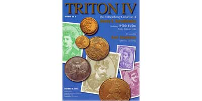 Лот №664, Classic Numismatic Group, New York. 6 December 2000 in New York Basel, 1965 года. Triton IV. The Extraordinary Collection of Henry V. Karolkiewicz Featuring Polish Coins from a Thousand Years..